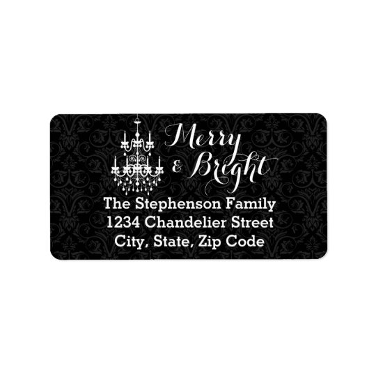 Merry and Bright Black Chandelier Holiday Label