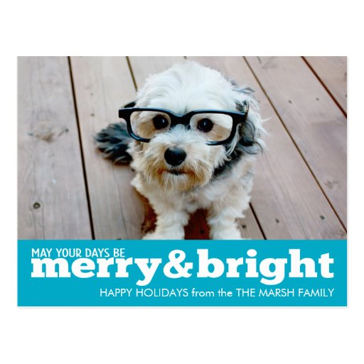 Merry and Bright Bold Modern Holiday Photo Card Post Cards