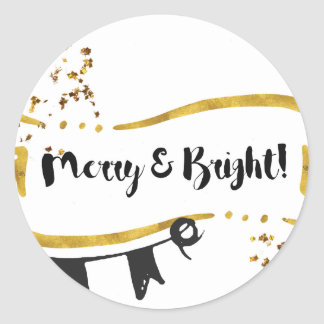 Merry and Bright Card Classic Round Sticker