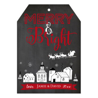 Merry and Bright Chalkboard Christmas Card Tag