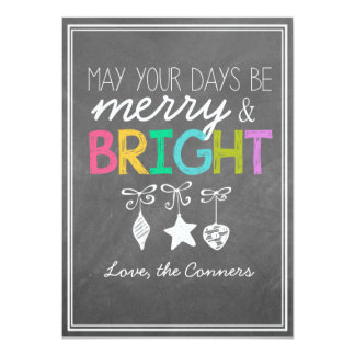 Merry and Bright Chalkboard Greeting Card