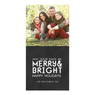 MERRY AND BRIGHT, CHALKBOARD HOLIDAY PHOTO CARD