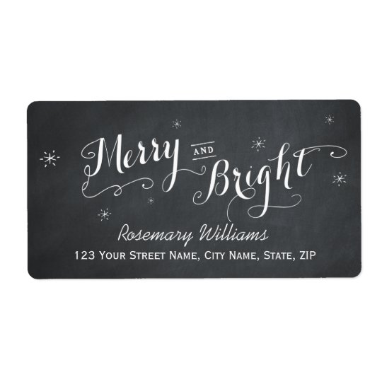 Merry and Bright - Chalkboard Shipping Labels