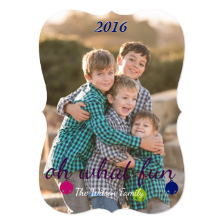 "Merry and Bright Christmas bells custom photo card 5"" X 7"" Invitation Card"