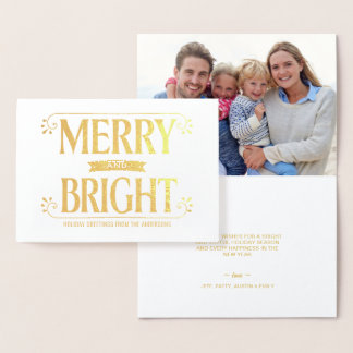Merry and Bright Christmas Holiday Bold Retro Foil Card