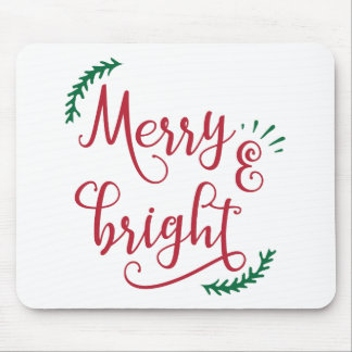 merry and bright Christmas Holiday Mouse Pad