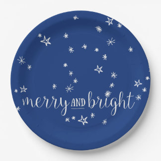 Merry and Bright Christmas Holiday Paper Plates
