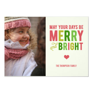 """Merry and Bright Christmas/ Holiday Photo Card 5"""" X 7"""" Invitation Card"""