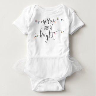 Merry and Bright Christmas Lights Baby Bodysuit