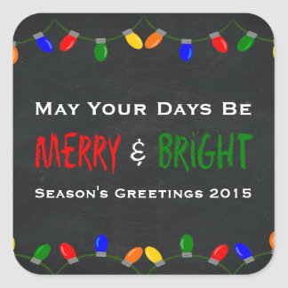 Merry and Bright Christmas Lights Chalkboard Square Sticker