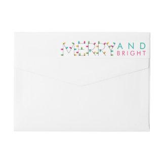 Merry and Bright Christmas Lights Colorful Custom Wraparound Return Address Label