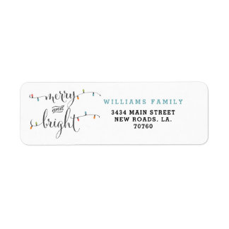 Merry and Bright Christmas Lights Return Address Label