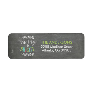 Merry and Bright Christmas Return Address Labels