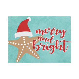 Merry and Bright | Christmas Santa Starfish Doormat