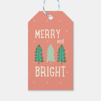 Merry and Bright Christmas Trees Gift Tag