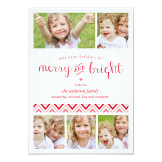 """Merry and Bright Collage Holiday Photo Card - Red 5"""" X 7"""" Invitation Card"""