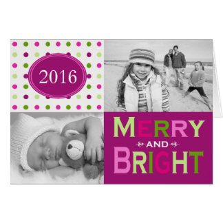 Merry and Bright Colorful Folded Holiday Greeting Card