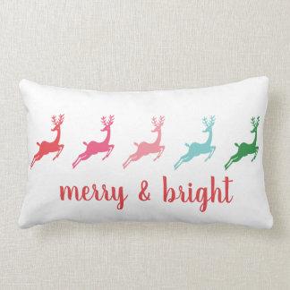 Merry and Bright Dashing Reindeer Silhouette Lumbar Pillow