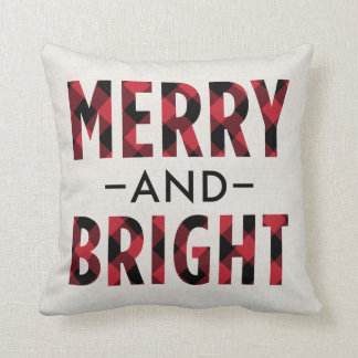 Merry and Bright | Deep Red Buffalo Plaid Throw Pillow