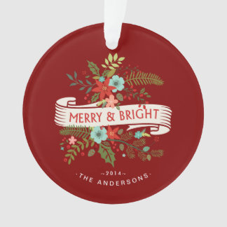 Merry and Bright Floral Holiday Family Photo Ornament