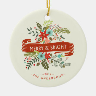 Merry and Bright Floral Holiday Family Photo Round Ceramic Ornament