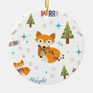 Merry and Bright Fox Ceramic Ornament