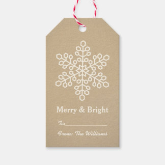Merry and Bright Gift Tags | Kraft Snowflake Pack Of Gift Tags