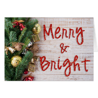 Merry and Bright Glitter Christmas Card