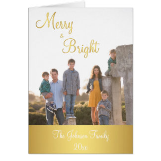 Merry And Bright Gold Christmas Greeting Cards