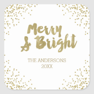 Merry and Bright gold glitter Christmas Stickers