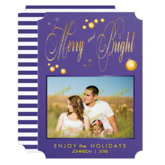 Merry and Bright Gold Glitter Family Photo Card