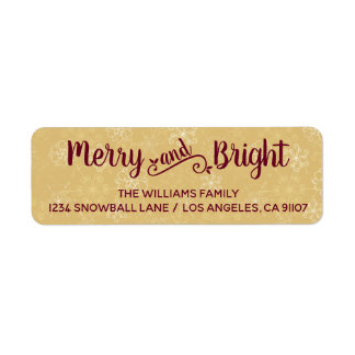 Merry and Bright Gold Return Address Labels