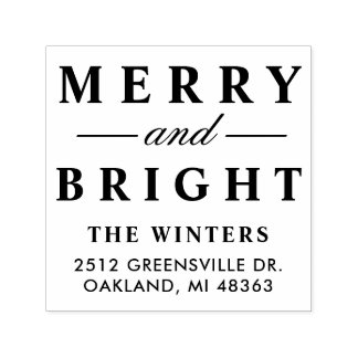 Merry and Bright | Holiday Address Self-inking Stamp