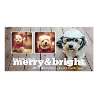 Merry and Bright Holiday Hipster Photo Collage Card