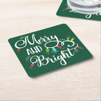 merry and bright holiday lights square paper coaster
