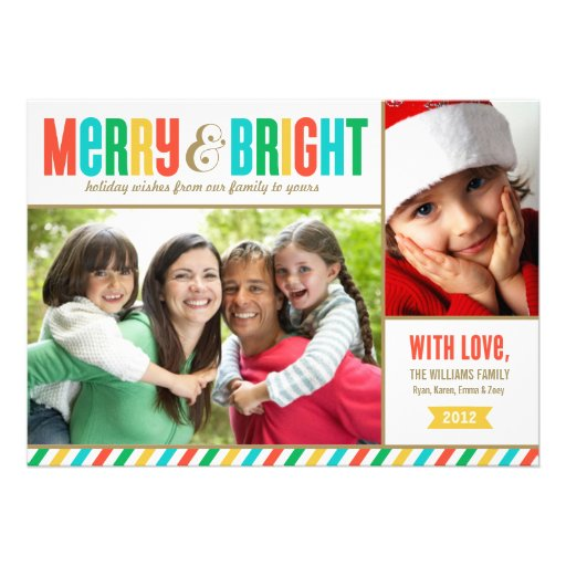 Merry and Bright Holiday Photo Card Bold Colors
