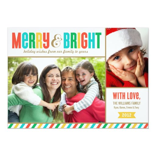"""Merry and Bright Holiday Photo Card   Bold Colors 5"""" X 7"""" Invitation Card"""
