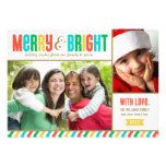 Merry and Bright Holiday Photo Card | Bold Colours Custom Invitation