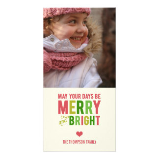 Merry and Bright Holiday Photo Card/Christmas Card Photo Greeting Card