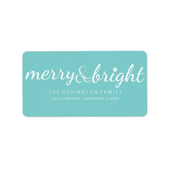 Merry and Bright Holiday Script Label