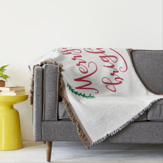 merry and bright Holiday Throw Blanket