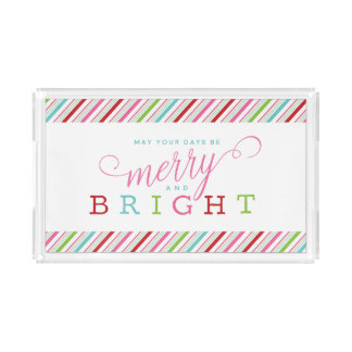 Merry and Bright in Stripes Holiday Acrylic Tray