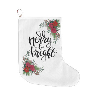 Merry and Bright Large Christmas Stocking