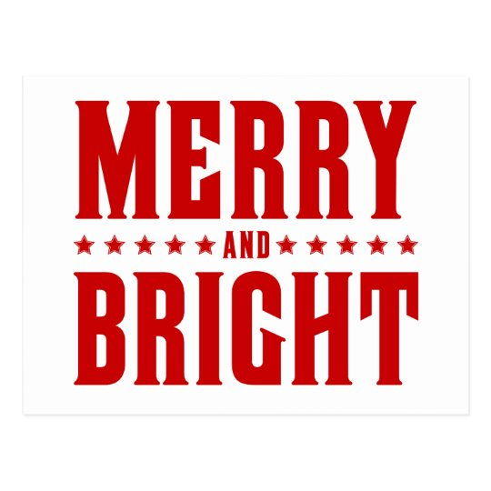 Merry and Bright Letterpress Style No. 507 Postcard