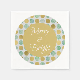Merry and Bright Modern Dots Christmas Paper Napkin