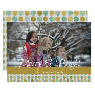 Merry and Bright Modern Dots Christmas Photo Card