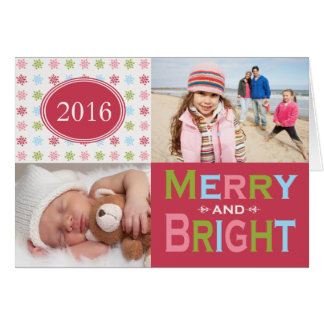 Merry and Bright Modern Folded Holiday Card