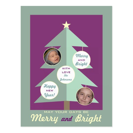 Merry and Bright Personalized Photo Postcards