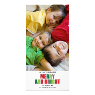 Merry and Bright Photo Christmas Card Photo Card Template