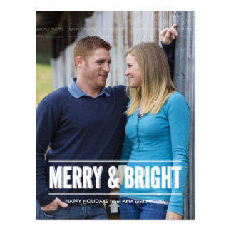 Merry and Bright Photo Christmas Holiday Wishes Postcard